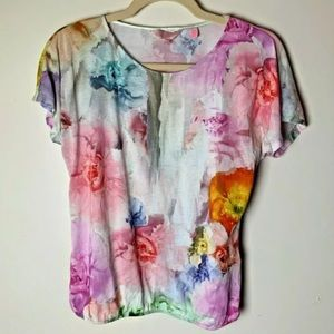 Ted Baker Top Size 1 XS (0-2) Short Sleeves Floral